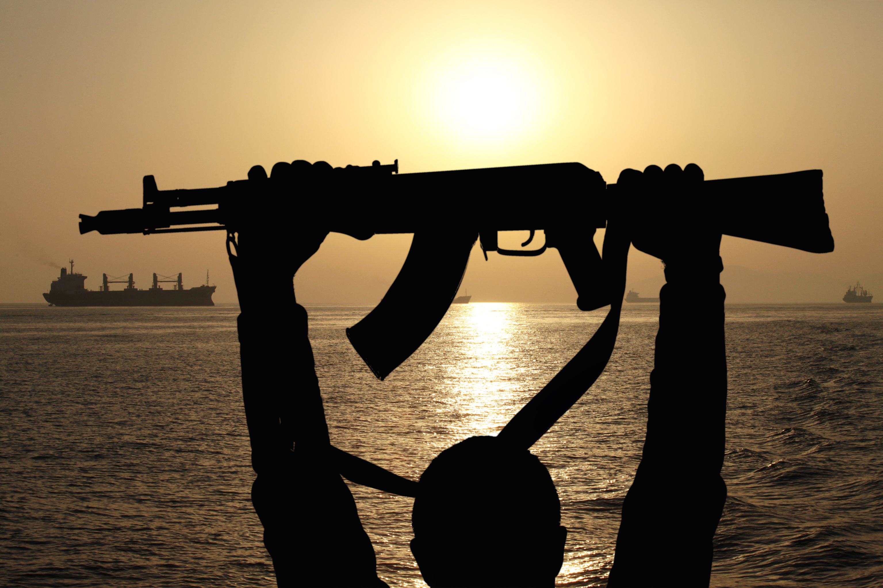 Pirate AK47 with ship in background 2